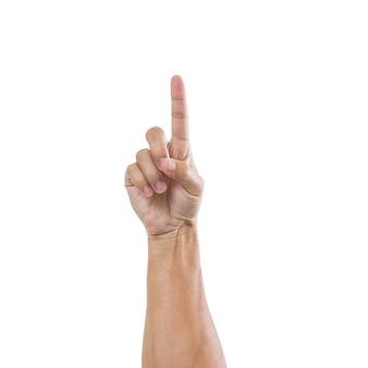 Ręka mężczyzny z jednym palcem na białym tle na białej powierzchni