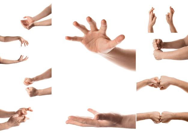 Ręka mężczyzny z różnymi gestami pojedynczo na białym tle kolaż ustawionych zdjęć