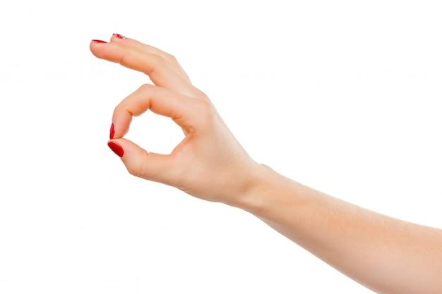 Ręka ok znak na białym tle