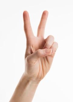 Ręka pokazuje dwa palce