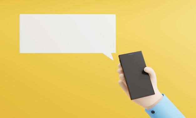 Ręka renderowania 3d za pomocą smartfona białego płaskiego pola cytatu do wstawiania tekstu inteligentnej technologii gadżetowej