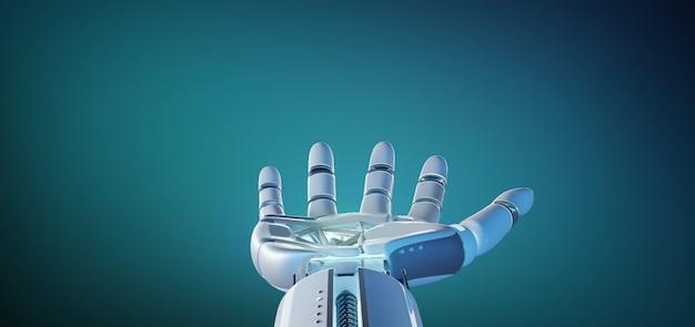 Ręka robota cyborg na jednolitym renderingu 3d
