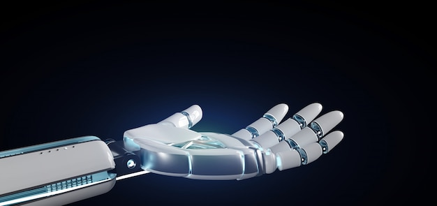 Ręka robota cyborg na mundurze