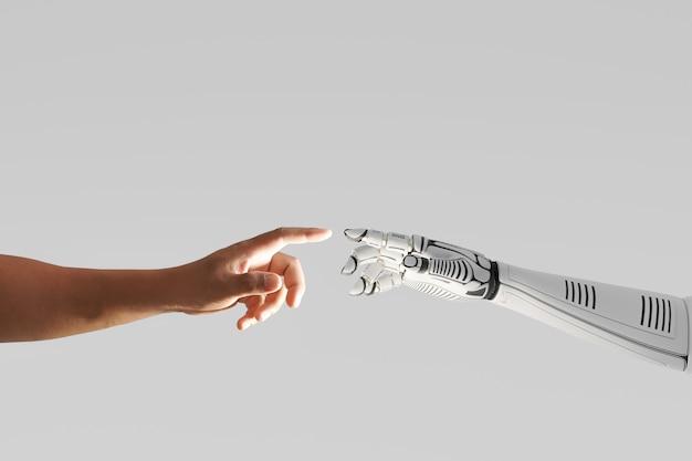 Ręka robota dotykająca ludzką ręką, renderowanie ilustracji 3d