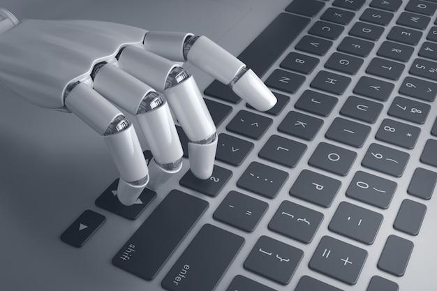 Ręka robota, naciskając przycisk na klawiaturze