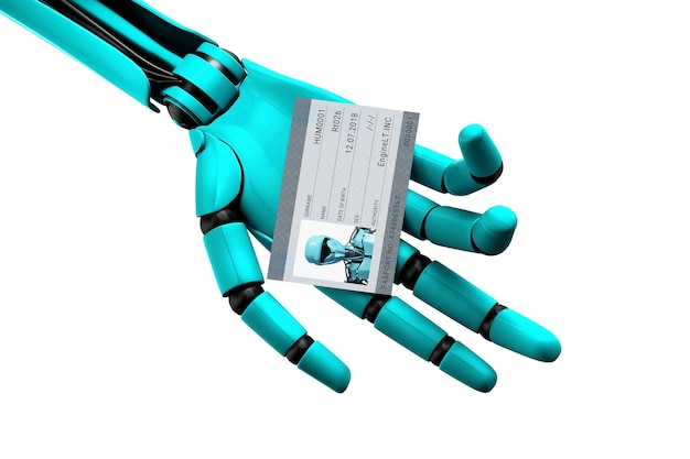 Ręka robota trzymająca paszport ze zdjęciem i numerem identyfikacyjnym. ilustracja 3d