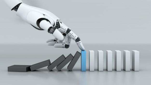 Ręka robota zatrzymuje kryzys biznesowy efekt domina