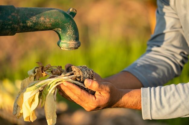 Ręka rolnika czekanie na wodę z rocznika pompy wodnej na zewnątrz. dla koncepcji sezonu suszy