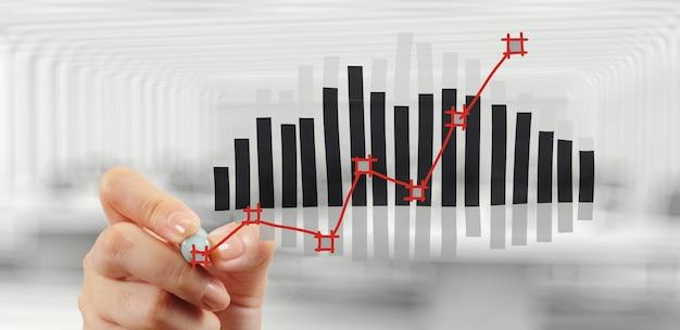 Ręka rysuje wykres mapę i strategię biznesową jako pojęcie