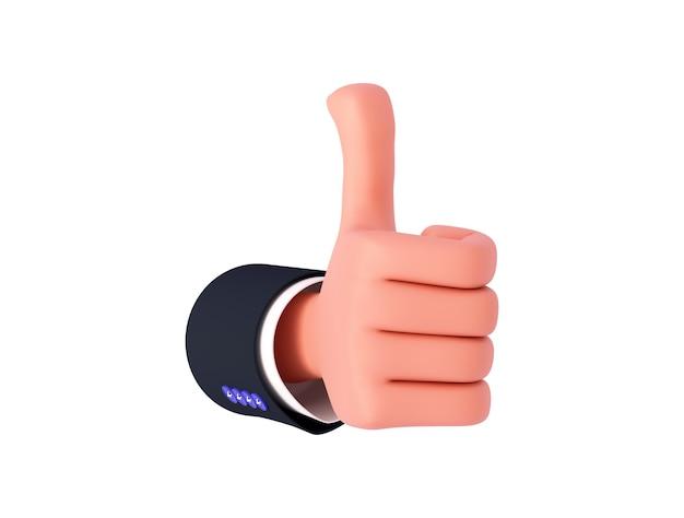Ręka rysunkowa 3d z rękawem lekko przesuniętym w prawo pokazuje podobny znak. gest ręki