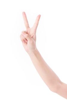 Ręka skierowana w górę 2 palce, znak ręką zwycięstwa