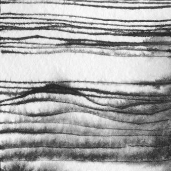 Ręka streszczenie ciągnione krajobraz atramentu ilustracja. czarno-biały atrament zimowy krajobraz z rzeką. minimalistyczne ręcznie rysowane