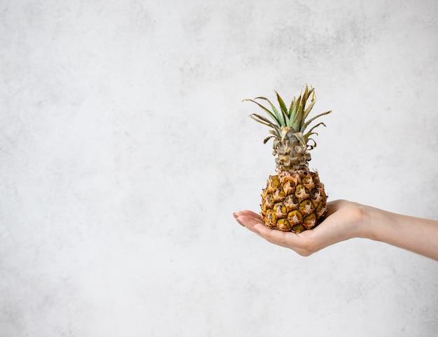 Ręka trzyma ananasa. kreatywna makieta wykonana z ananasa. jasnoszare tło