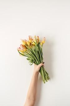 Ręka trzyma bukiet kwiatów kolorowych tulipanów na białej ścianie