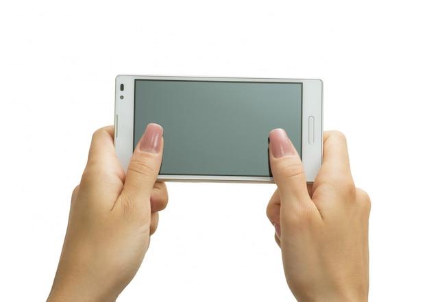 Ręka trzyma duży ekran dotykowy inteligentny telefon