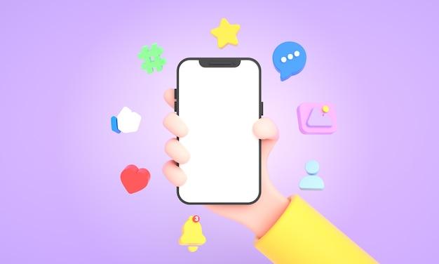 Ręka trzyma i używa telefonu wyizolowanego z mediami społecznościowymi i ikonami sieci społecznościowych do makiety telefonu