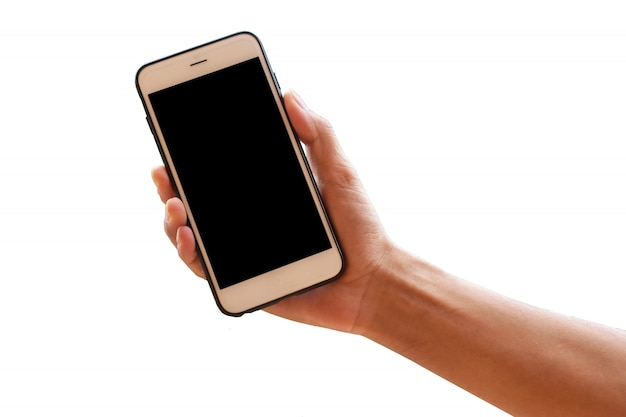 Ręka trzyma inteligentny telefon komórkowy lub telefon