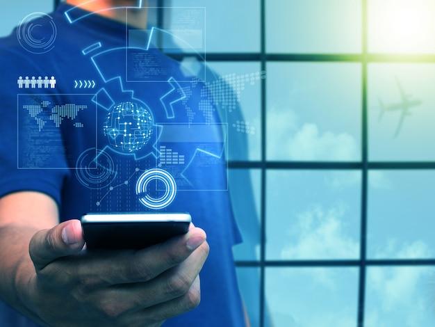 Ręka trzyma inteligentny telefon, koncepcja technologii biznesowych