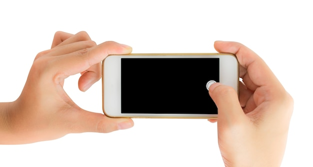 Ręka trzyma inteligentny telefon zrobić zdjęcie.