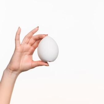 Ręka trzyma jajko na bielu