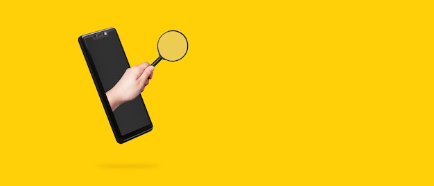 Ręka trzyma lupę, wystaje z ekranu smartfona, koncepcja szybkiego wyszukiwania w telefonie