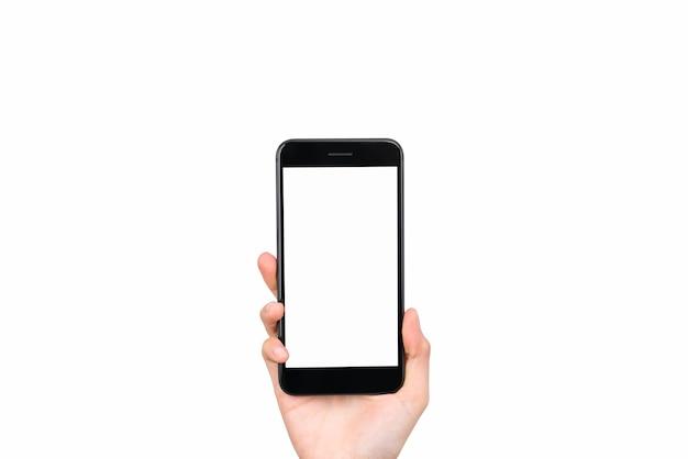 Ręka trzyma makieta smartfona z pustym ekranem na na białym tle. zabierz swój ekran, aby umieścić reklamy.