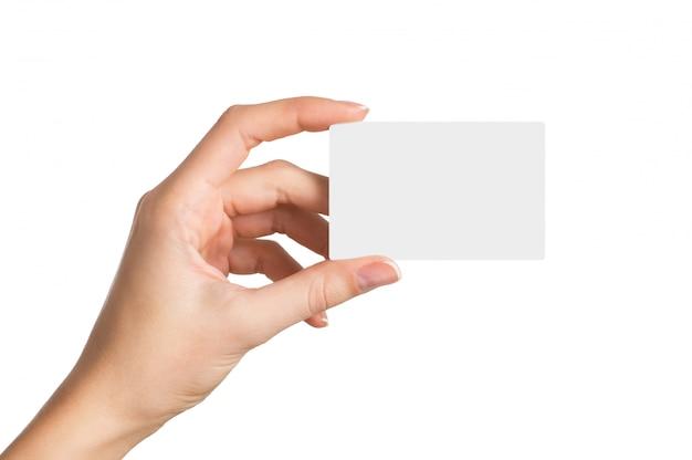 Ręka trzyma pustą wizytówkę