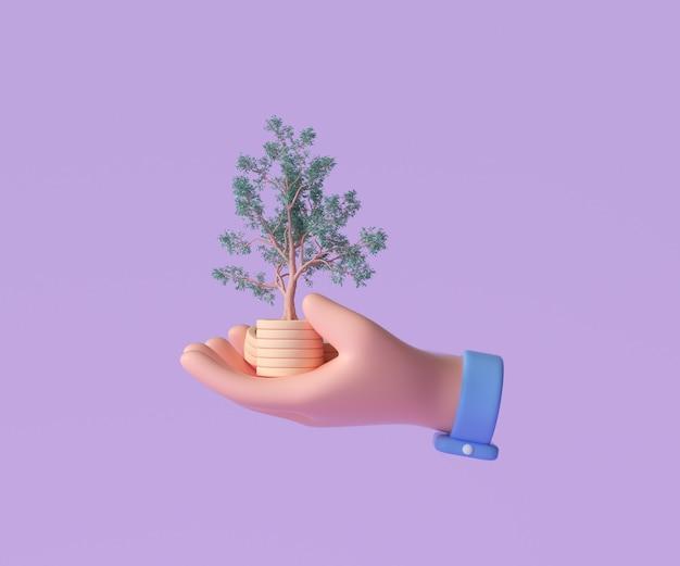 Ręka trzyma stos monet z rosnącym drzewem do inwestycji biznesowych