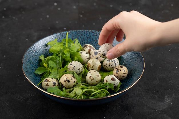 Ręka trzyma surowego jaja przepiórczego na czarnej powierzchni.