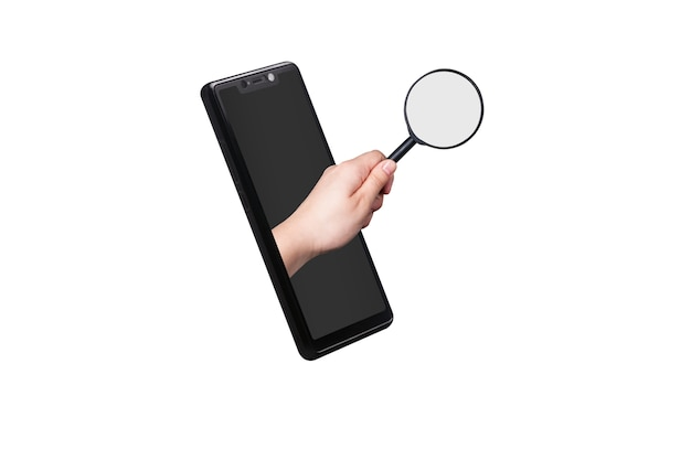 Ręka trzyma szkło powiększające, wystaje z ekranu smartfona, koncepcja wyszukiwania telefonu