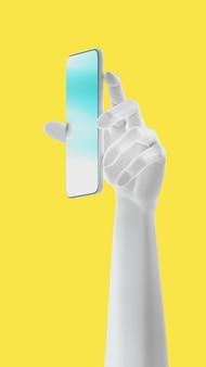 Ręka trzyma telefon, na białym tle na żółtym tle. ilustracja 3d. makieta zestaw koncepcji mediów społecznościowych, aplikacji, wiadomości i komentarzy.