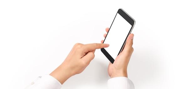 Ręka trzyma urządzenie smartphone i dotykając ekranu
