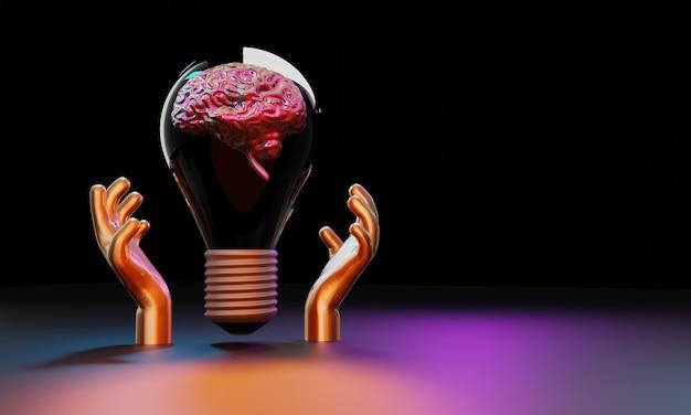Ręka trzyma żarówkę z mózgiem wewnątrz ilustracji 3d. kreatywny pomysł
