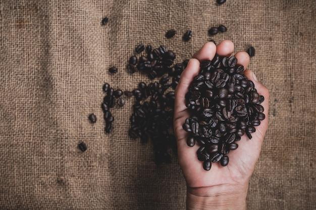 Ręka trzyma ziarna kawy