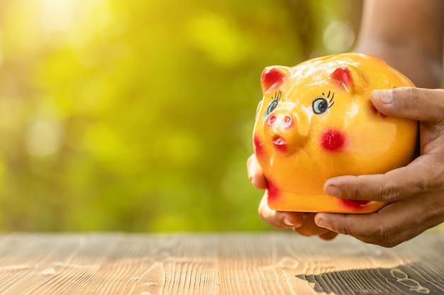 Ręka trzyma złocistego prosiątko banka z zielonym natury plamy tłem. koncepcja oszczędności pieniędzy