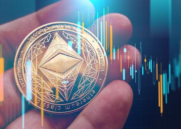 Ręka trzyma złotą monetę eth z niewyraźnym wykresem świecznikowym w tle. ethereum to zdecentralizowany blockchain typu open source z inteligentną umową. koncepcja kryptowalut i zdecentralizowanych finansów