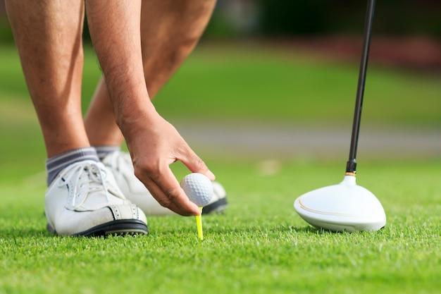 Ręka trzymać piłkę golfową z tee na kursie