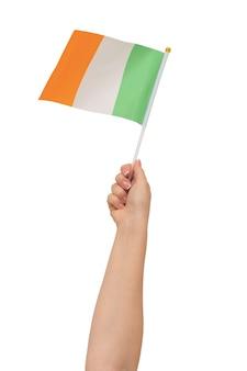 Ręka trzymająca flagę irlandii