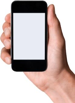 Ręka trzymająca iphone'a z białym ekranem