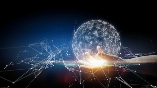 Ręka trzymająca połączenie globalne i splotu i splotu, koncepcja połączenia technologii