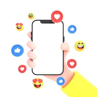 Ręka trzymająca telefon komórkowy wyizolowany z ikonami mediów społecznościowych i emotikonami do makiety telefonu
