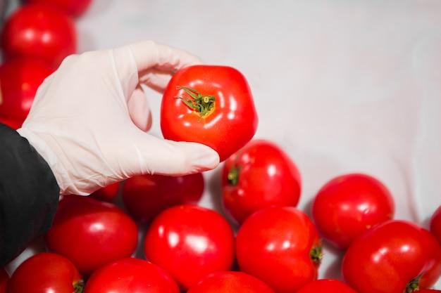 Ręka w białej rękawiczce zabiera czerwonego pomidora do sklepu. bezpieczeństwo epidemiczne