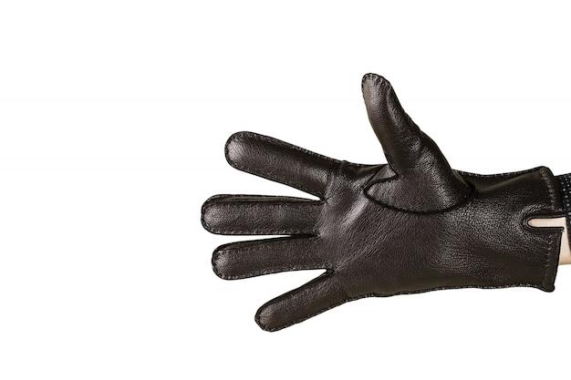 Ręka w czarne skórzane rękawiczki
