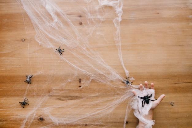 Ręka w pajęczyna