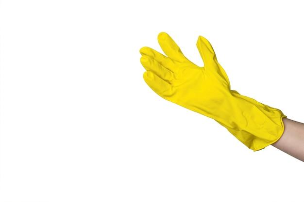 Ręka w rękawiczki gumowe firmy na białym tle na białej powierzchni