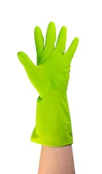 Ręka w zielonej gumowej rękawicy ochronnej na białym tle. podniesiona dłoń w rękawiczce z pięcioma palcami
