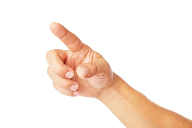 Ręka wskazująca symbol na białym tle