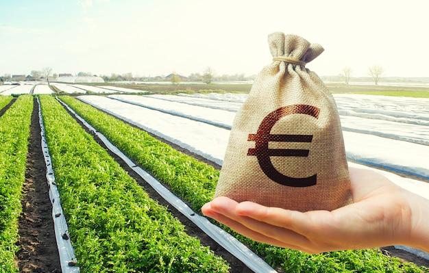 Ręka wyciąga worek pieniędzy euro na tle pól uprawnych plantacji ziemniaków