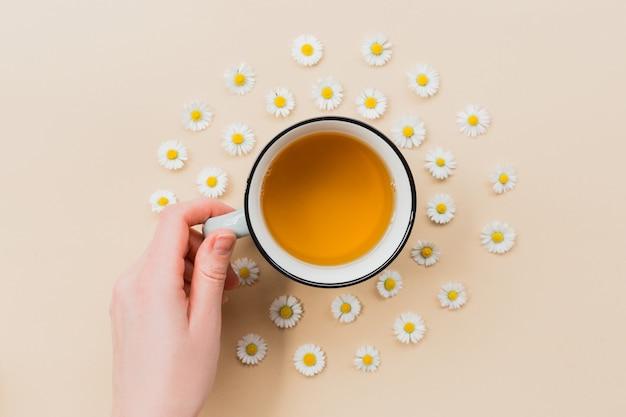 Ręka z ceramicznym kubkiem herbaty rumiankowej z kwiatami na beżowym tle, widok z góry z miejscem na kopię dla swojego projektu. minimalna koncepcja ziołolecznictwa. ułożenie płaskie. zbliżenie na herbatę.