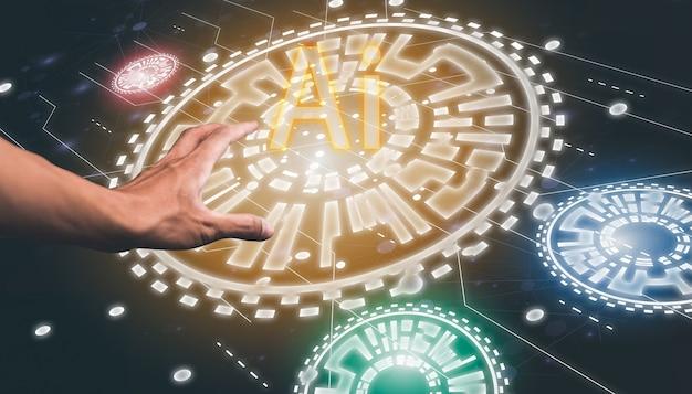 Ręka z elektronicznym chipem ai